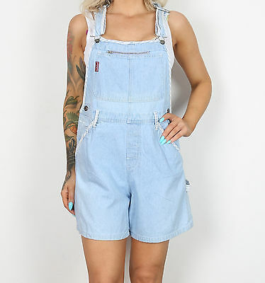 Dungarees Shorts UK 12 Medium Fitted Oversized 10 Small  Denim Light Blue (E2N)