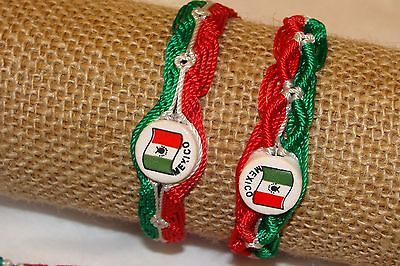 #2491  5 Pulseras Artesanales Color Bandera MEXICO Tricolor Mexicano Ajustable