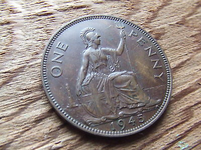 George Vi.    1945, Penny.   Scarce.    Near Mint Condition.