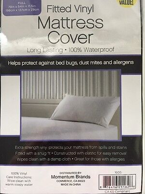Full Size Waterproof Mattress Protector Cover Fitted Vinyl White