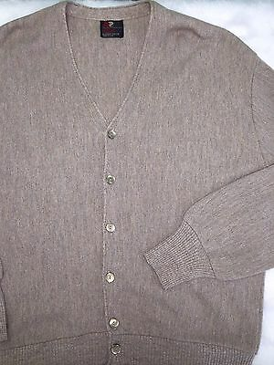Arnold Palmer Robert Bruce Vintage Mens Cardigan Sweater Size XL Tan Button Up