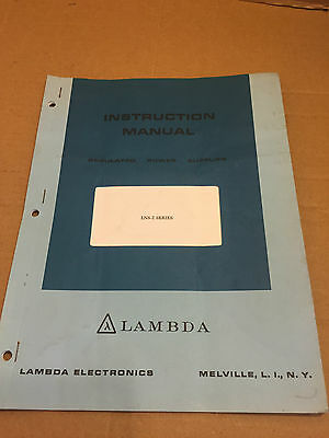 Vintage Lambda Instruction Manual For Regulated Power Supplies LNS-Z Series