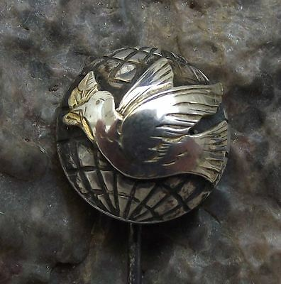 Antique Dove of Peace with Olive Branch in Beak Earth World Pin Badge