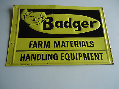 Badger Farm equipment advertising sign vtg agriculture  tin
