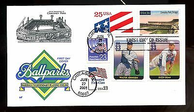 Very Nice US 2001 Super Franked FDC COMBO Baseball Stadiums: Comiskey Park