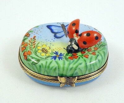 New Hand Painted French Limoges Box Lady Bug W Open Wings In Colorful Garden