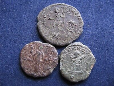 3 Genuine Ancient Roman Coins,Unresearched,Identifiable Coins With OK Detail