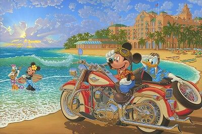 "Disney Fine Art Mickey ""Where the Road Meets the Sea"" Framed by Manuel Hernandez"