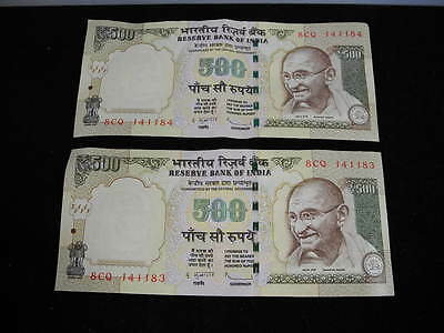 2012 500 India Rupees Bill Lot of 2 1000 Rupees