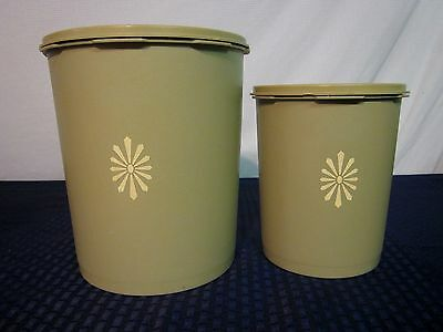 Set of 2 Tupperware Canisters. #805 & #809. Olive Green. GUC.