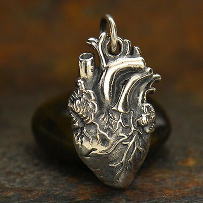 Sterling Silver Anatomical Heart Charm Doctor Nurse Medical Staff Love Heartbeat