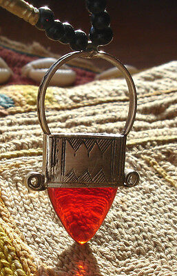 Red and silver  Niger Tuareg hand engraved pendant necklace with agate beads