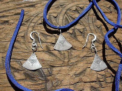Silver Niger  Tuareg  hand engraved necklace pendant + tie and earrings set