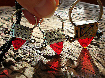 Niger Tuareg red necklace pendant with agate beads and earrings jewellery set