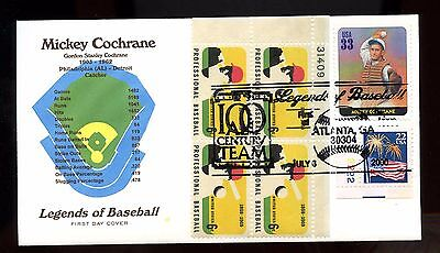 Very Nice US 2000 Super Franked FDC COMBO Legends of Baseball: Mickey Cochrane