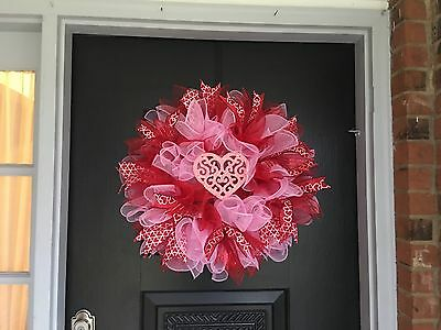 "Deco Mesh 26""  Red & Pink Valentines Wreath - Wreath's And More By Terri"