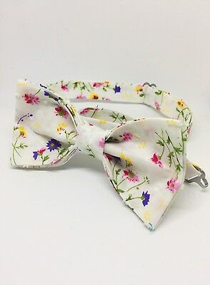 Spring Flowers Bow Tie & Pocket Square- Handmade Gifts For Him, Wedding Bow Tie,