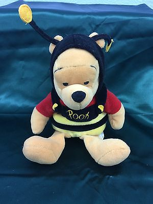 "Winnie the Pooh Plush in Bumble Bee Costume Disney Store 9"" Valentine's Day"