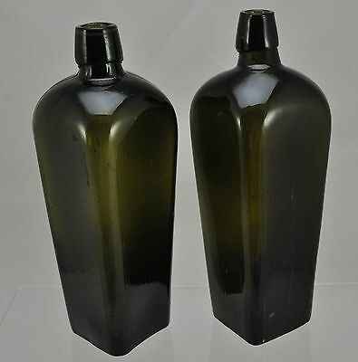 Pair of Antique Green Glass Gin Case Bottles Applied Lip Vertical Ribbing