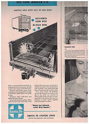 Working for Victory on the Santa Fe 1943 Santa Fe System Lines 1/2 Page Ad