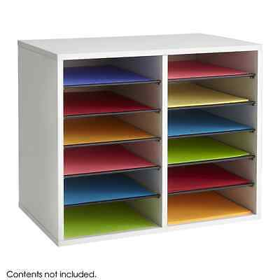 Safco Products Wood Adjustable Literature Organizer - 12 Compartment, Gray (9420