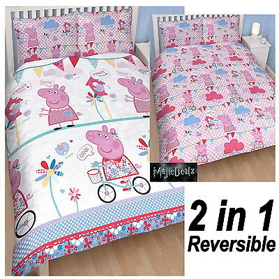 Peppa Pig Tweet Reversible Double Duvet Quilt Cover Bedding Set Girls Character