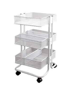 Storage Studios Mobile Craft Cart with Dividers, 27.5x15.1x13.9-Inch, White