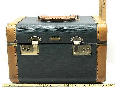 Vintage 1950's Lincoln Zephyrweight Leather Handle+Trimmed Train Travel Case