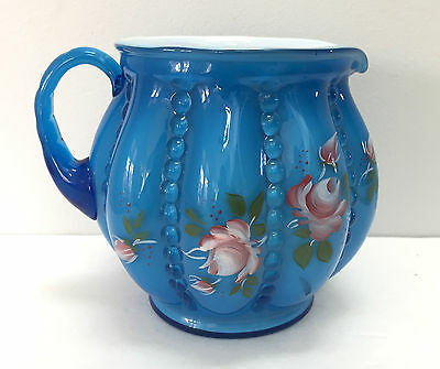 Fenton Glass Twilight Blue Overlay Beaded Melon Pitcher Hand Painted Signed