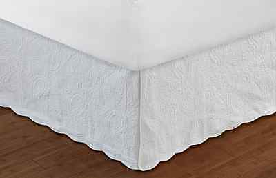 Greenland Home Paisley Bed Skirt 18-Inch, White, Quilted, Full