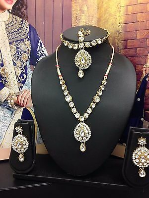 New Necklace Earring Set Head Piece Jewellery Indian Bollywood Blue Gold Green