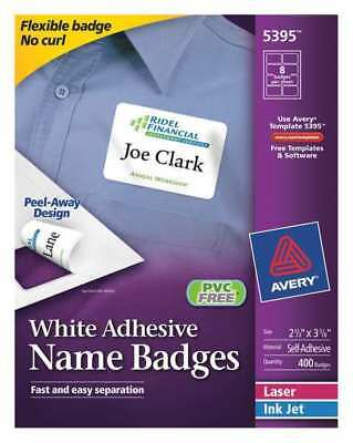 Avery Avery Name Badge for Laser and Inkjet Printers 5395, PK50, 5395