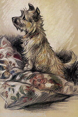 Vintage Cairn Terrier Dog Standing on Flowered Pillow~ NEW Large Note Cards