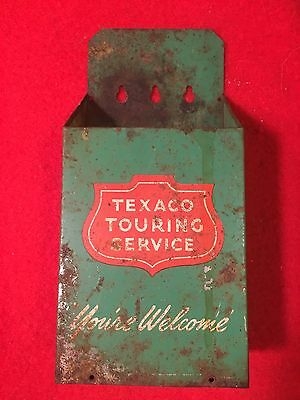 Vintage 1960's era Metal TEXACO TOURING SERVICE Map Holder ~ You're Welcome