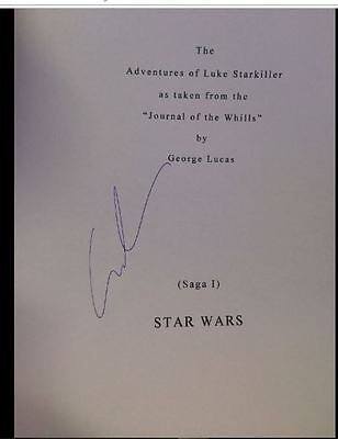 George Lucas Auto Script Page Stars Wars A New Hope