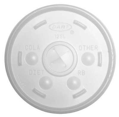 Straw Slotted Cold/Hot Cup Lid, Clear ,Dart, 12SL