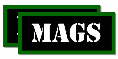 "MAGS Ammo Can Labels for Ammunition Case 3.5"" x 1.50"" stickers decals 2PACK"