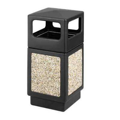 38 gal. Black Plastic Square Trash Can SAFCO 9472NC