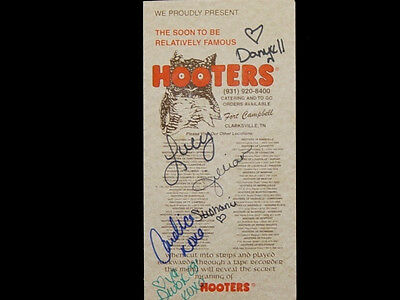 SIGNED by Opening staff HOOTERS Girls FIRST RUN MENU 101ST AIRBORNE EAGLES army