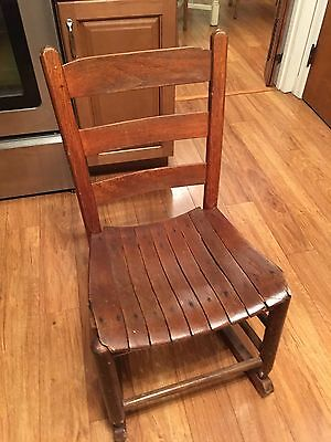 "Antique Smaller Sized Wooden Rocking Chair With Slatted Seat 31"" Tall 17"" Wide"