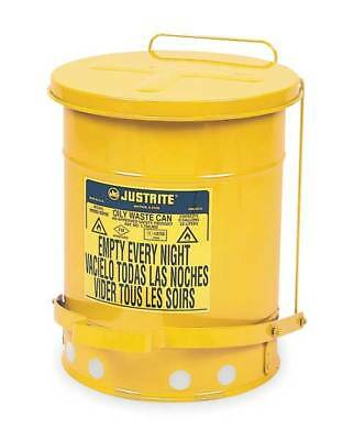 Oily Waste Can,6 Gal.,Steel,Yellow JUSTRITE 09101
