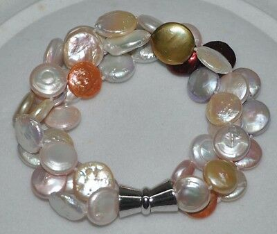 Beautiful 12-13mm mix3strandNuclear coin pearl bracelet