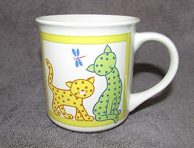 Unusual Collectible SPOTTED CATS w/ DRAGONFLY Mug Cup