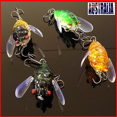 4x Winged Cicada Fishing Lure Topwater Popper Crawler Freshwater Bream Bass Cod