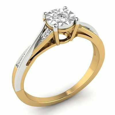 Round Cut Diamond Classic Solitaire Engagement Ring 18K Yellow Gold 0.17ct