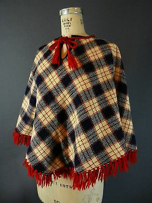 Vintage 60s 70s Plaid Reversible Tassel Cape Shawl Short Capelet Poncho