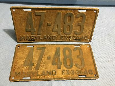 1940 Maryland License Plates Tags - Matched Pair