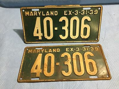 1939 Maryland License Plates Tags - Matched Pair
