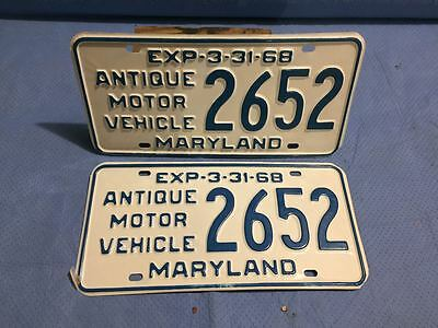 1968 Maryland License Plates Tags - Antique - Matched Pair