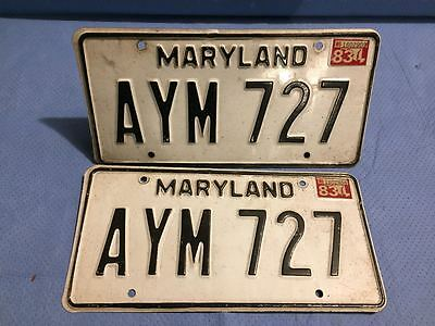 1983 Maryland License Plates - Matched Pair